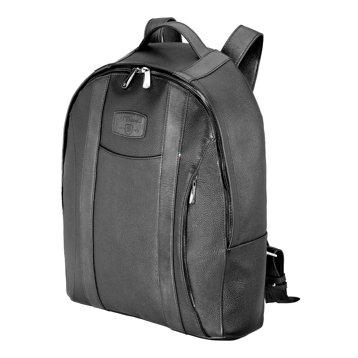 ST Dupont Soft Diamond Grained Black Leather Laptop Backpack