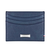 ST Dupont Soft Diamond Grained Blue Leather Men's RFID Credit Card Holder Wallet