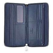 ST Dupont Line D Soft Diamond Grained Leather Men's Blue Flat Organizer Wallet
