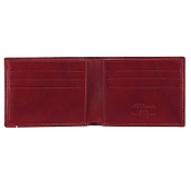 ST Dupont Soft Diamond Grained Red Leather Men's RFID Bifold Wallet - 6 Credit Card