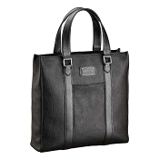 ST Dupont Soft Diamond Grained Black Leather Men's Laptop Tote Bag