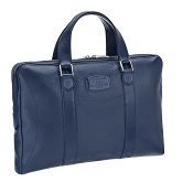 ST Dupont Soft Diamond Grained Blue Leather Flat Laptop Bag Document Holder