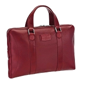 ST Dupont Soft Diamond Grained Red Leather Flat Laptop Bag Document Holder
