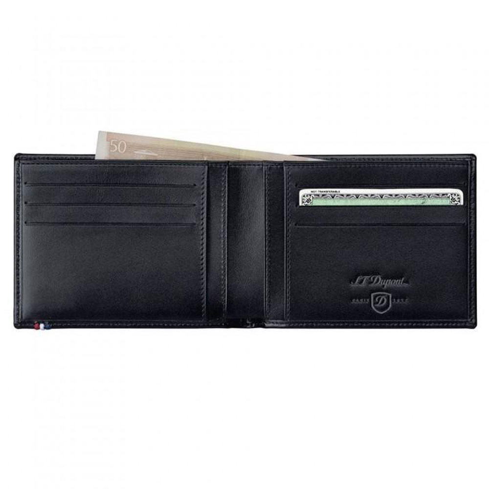 ST Dupont Line D 6 Credit Card ID Papers Black Men's Leather Wallet