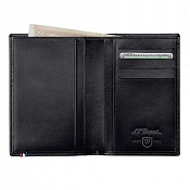 ST Dupont Line D Men's Small Vertical Bifold Wallet - Black Leather - 4 Credit Card