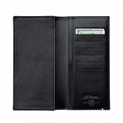ST Dupont Line D Black Leather Long Vertical Men's Wallet - 7 Credit Card