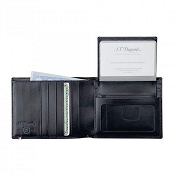 ST Dupont Line D 5 Credit Card Men's Leather ID Pass Wallet - Black