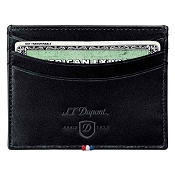 ST Dupont Line D Black Leather Men's Multi Credit Card Wallet