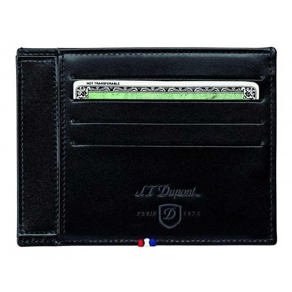 ST Dupont Line D Men's Leather ID Holder 4 Credit Card Wallet - Black