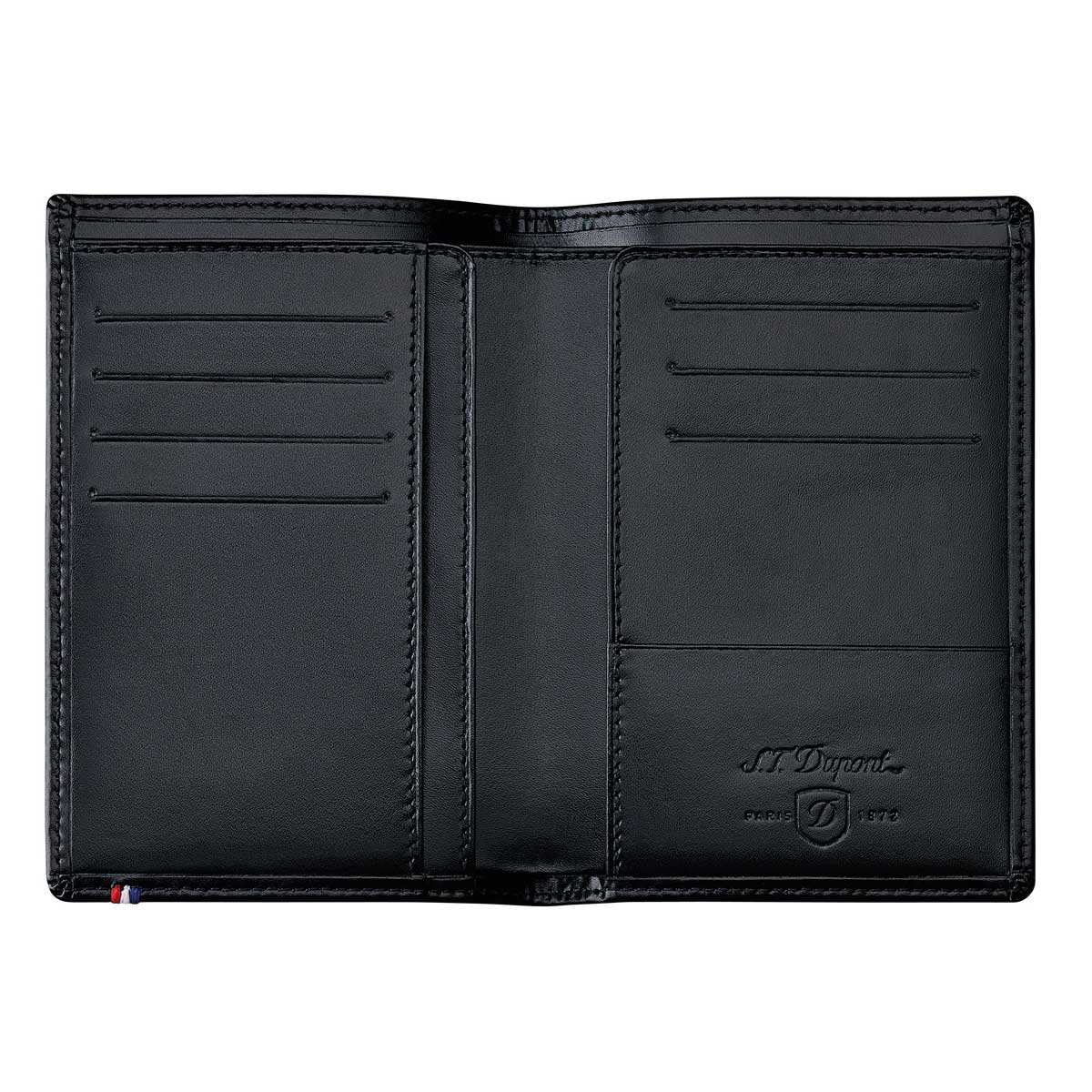 05a22b997562 S. T. Dupont Line D Black leather men's vertical wallet for 7 cards. RFID  protection. and zippered coin pocket.
