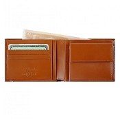 ST Dupont Line D 4 Credit Card Brown Leather ID Wallet with Coin Purse