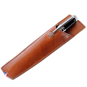ST Dupont Line D Single Leather Pen Sleeve - Brown