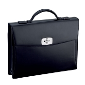 ST Dupont Line D Tourniquet Black Leather Briefcase