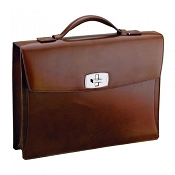 ST Dupont Line D Tourniquet Brown Leather Briefcase