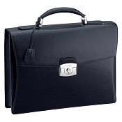 ST Dupont Line D Single Gusset Black Contraste Leather Briefcase