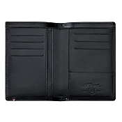 ST Dupont Line D Men's Vertical Bifold RFID Wallet - Black Leather - 7 Credit Card