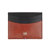 ST Dupont Line D Brown & Black Duotone Leather Men's Credit Card Holder Wallet