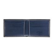 ST Dupont Line D Grey & Blue Leather Men's Bifold Wallet - 6 Credit Card