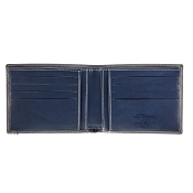 ST Dupont Line D Grey & Blue Leather Men's Bifold ID Wallet - 8 Credit Card