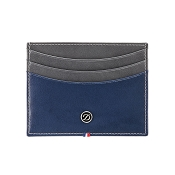 ST Dupont Line D Grey & Blue Duotone Leather Men's Credit Card Holder Wallet
