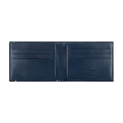 ST Dupont Line D Navy Blue Leather Men's Bifold Wallet - 6 Credit Card