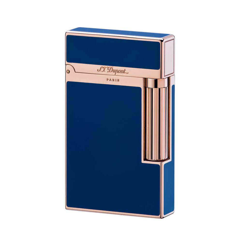 ST Dupont Ligne 2 Blue Chinese Lacquer and Pink Gold Lighter