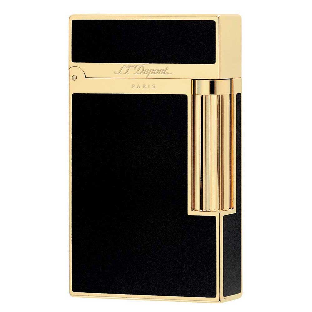 St Dupont Ligne 2 Black Chinese Lacquer And Gold Lighter