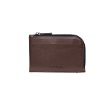 ST Dupont Line D Slim Brown-Blue Leather Coin Purse