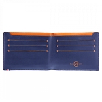 ST Dupont Line D Slim Blue-Orange 7 CC Bifold Leather Wallet
