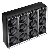 Swiss Kubik Twelve Watch Winder - Black Calf Leather