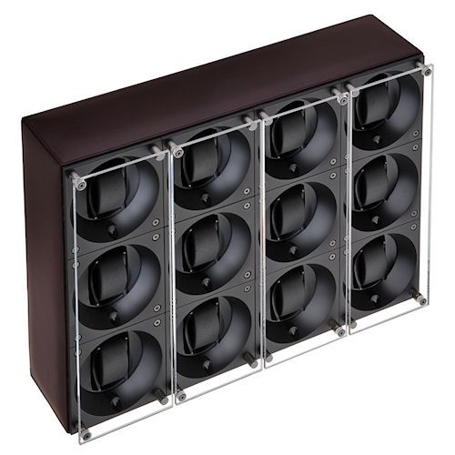 Swiss Kubik Twelve Watch Winder - Dark Brown Calf Leather