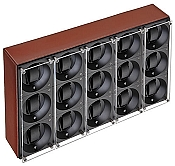Swiss Kubik Fifteen Watch Winder - Natural Calf Leather White Stitches