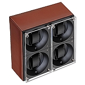 Swiss Kubik Quad Watch Winder - Natural Calf Leather - White Stitches
