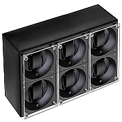 Swiss Kubik Six Watch Winder - Black Calf Leather White Stitches