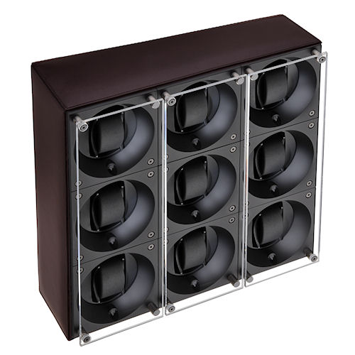Swiss Kubik Nine Watch Winder - Dark Brown Calf Leather