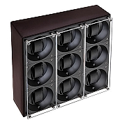 Swiss Kubik Nine Watch Winder - Black Calf Leather
