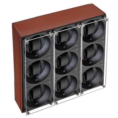 Swiss Kubik Nine Watch Winder - Natural Calf Leather - White Stitches