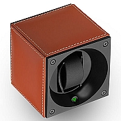 Swiss Kubik Single Watch Winder - Natural Calf Leather-White Stitches
