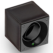 Swiss Kubik Single Watch Winder - Dark Brown Calf Leather