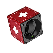 Swiss Kubik Single Watch Winder Red Leather White Cross Swiss Flag