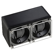 Swiss Kubik Double Watch Winder - Black Leather White Stitches
