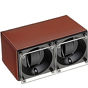 Swiss Kubik Double Watch Winder - Natural Calf Leather White Stitches