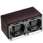 Swiss Kubik Double Watch Winder - Dark Brown Calf Leather