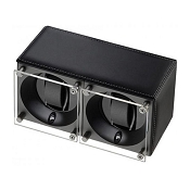 Swiss Kubik Double Watch Winder - Black Calf Leather