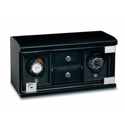 Underwood Rotobox Twin-Module Watch Winder with Compartment Trays
