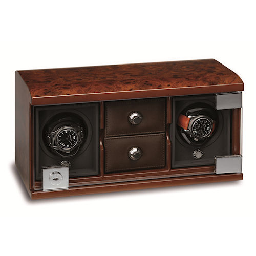 Underwood Briarwood Watch Winder - Twin-Module Unit-Compartment Trays