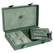 Underwood Green Leather 4 Watch Storage Case with Accessory Set