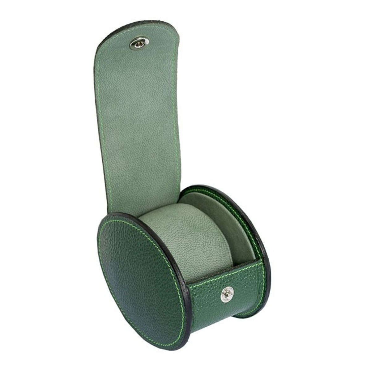 Underwood Green Leather Two Luxury Watch Travel Case - Round
