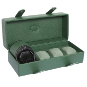 Underwood Green Leather 3 Watch Storage Case with Rotogalbe Winder