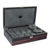 Underwood Macassar Wooden Watch Collector Case - Six Watches & Cufflinks